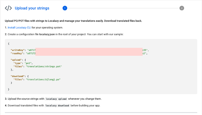Localazy Upload strings screen