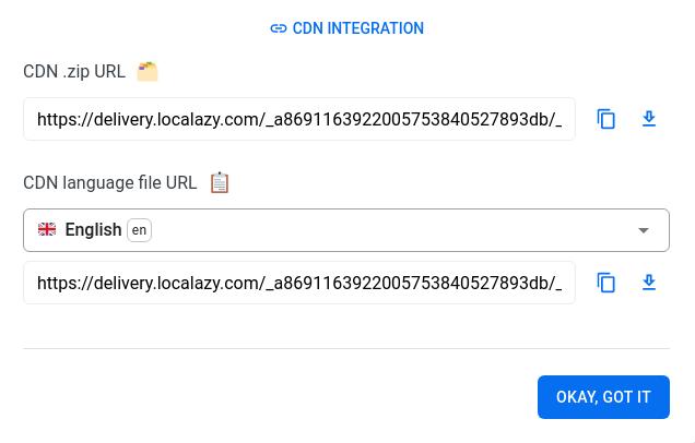 CDN link in Localazy UI
