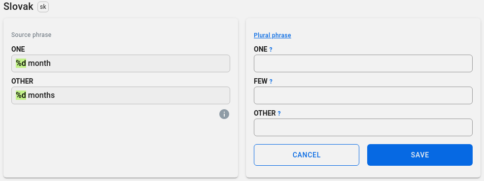Localazy interface for plurals