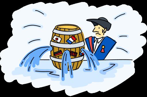 Leaking barrel illustration
