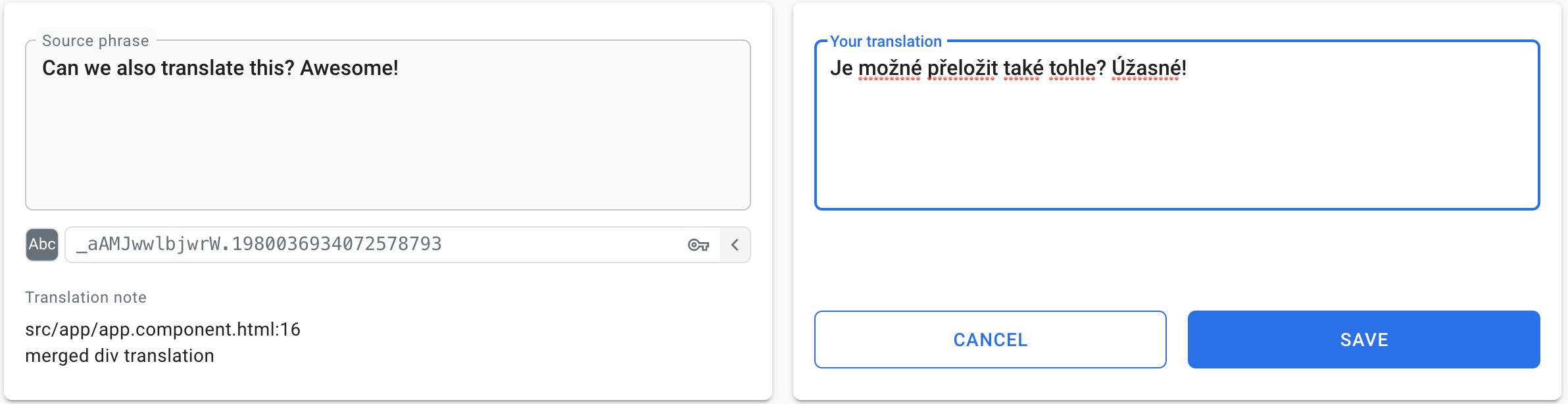 Translate phrase