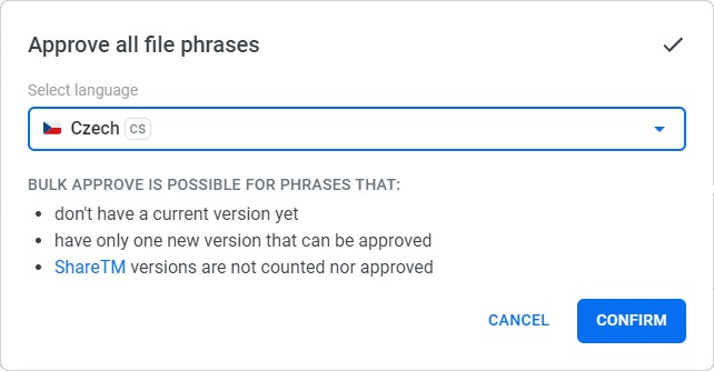 Localazy File management - Approve all phrases