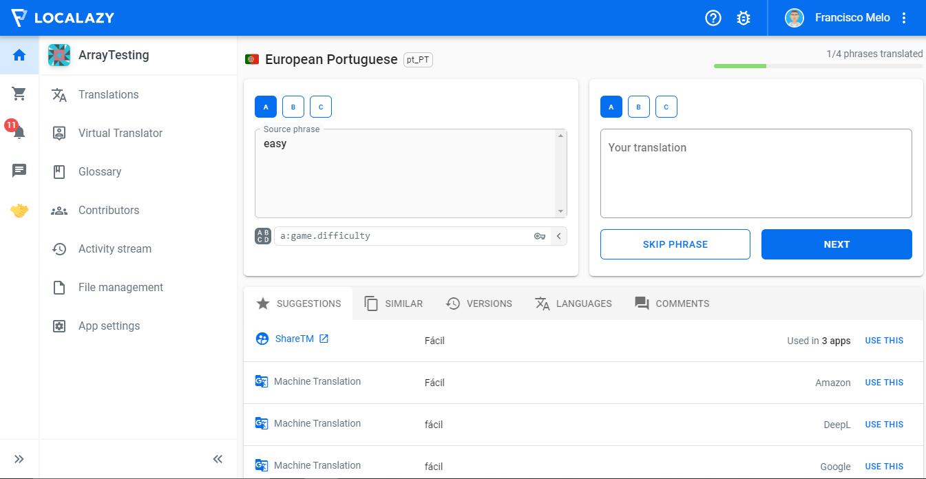 Localazy translation screen - arrays