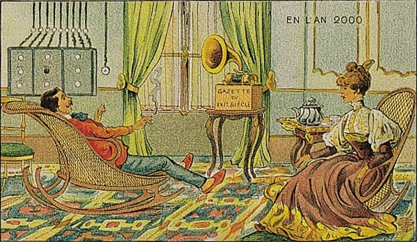 France in XXI Century. This was a series of futuristic pictures issued in France in 1899, 1900, 1901 and 1910, originally in the form of paper cards enclosed to cigarette/cigar boxes and, later, as postcards. They depicted the world of the future, in 2000.